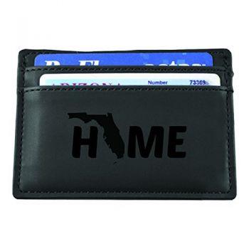 Florida-State Outline-Home-European Money Clip Wallet-Black