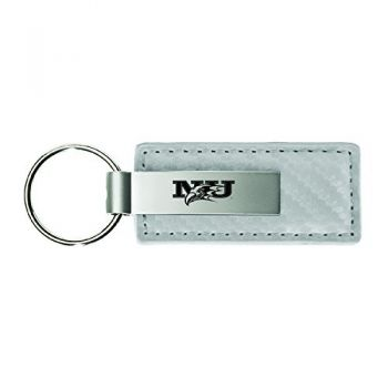 Niagara University-Carbon Fiber Leather and Metal Key Tag-White