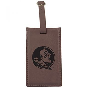 Florida State University -Leatherette Luggage Tag-Brown