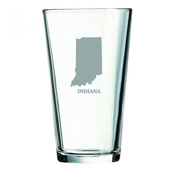 16 oz Pint Glass  - Indiana State Outline - Indiana State Outline