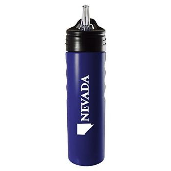 Nevada-State Outline-Stainless Steel Grip Water Bottle with Straw-Blue