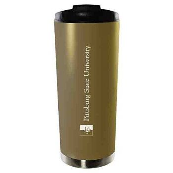 Pittsburg State University-16oz. Stainless Steel Vacuum Insulated Travel Mug Tumbler-Gold