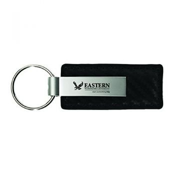 Eastern Washington University-Carbon Fiber Leather and Metal Key Tag-Black