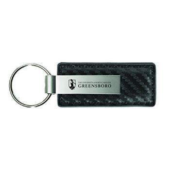 University of North Carolina at Greensboro-Carbon Fiber Leather and Metal Key Tag-Grey