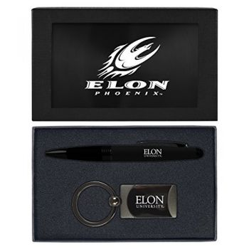 Elon University -Executive Twist Action Ballpoint Pen Stylus and Gunmetal Key Tag Gift Set-Black