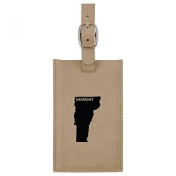 Vermont-State Outline-Leatherette Luggage Tag -Tan