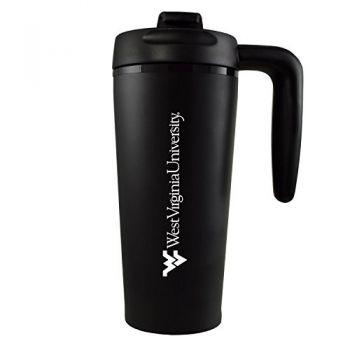 West Virginia University -16 oz. Travel Mug Tumbler with Handle-Black