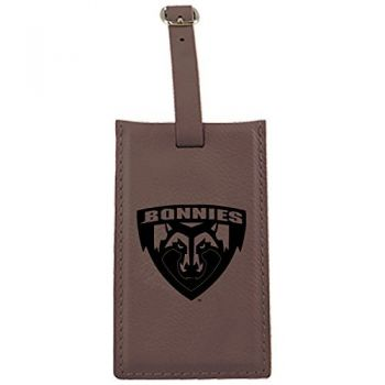 St. Bonaventure Bonnies -Leatherette Luggage Tag-Brown