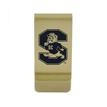 Savannah State University|Money Clip with Contemporary Metals Finish|Solid Brass|High Tension Clip to Securely Hold Cash, Cards and ID's|Silver