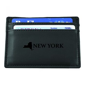 New York-State Outline-European Money Clip Wallet-Black