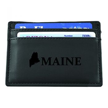 Maine-State Outline-European Money Clip Wallet-Black