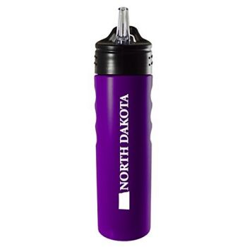 North Dakota-State Outline-Stainless Steel Grip Water Bottle with Straw-Purple