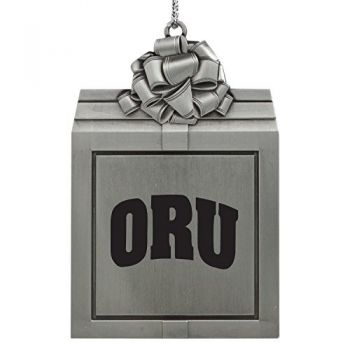 Oral Roberts University -Pewter Christmas Holiday Present Ornament-Silver
