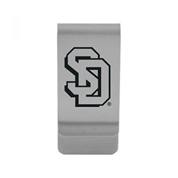 University of South Dakota|Money Clip with Contemporary Metals Finish|Solid Brass|High Tension Clip to Securely Hold Cash, Cards and ID's|Gold