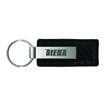 Siena College-Carbon Fiber Leather and Metal Key Tag-Black