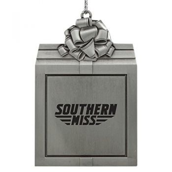 University of Southern Mississippi-Pewter Christmas Holiday Present Ornament-Silver