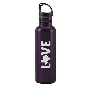 Texas-State Outline-Love-24-ounce Sport Water Bottle-Purple