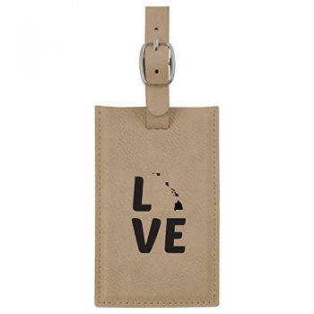 Hawaii-State Outline-Love-Leatherette Luggage Tag -Tan