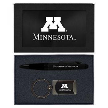 University of Minnesota -Executive Twist Action Ballpoint Pen Stylus and Gunmetal Key Tag Gift Set-Black