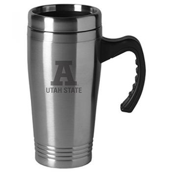 Utah State University-16 oz. Stainless Steel Mug-Silver