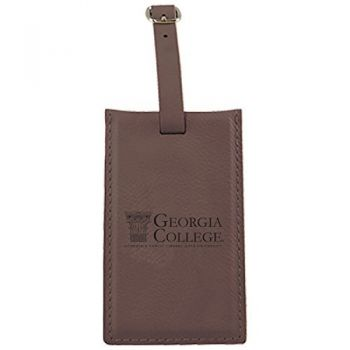 Georgia College-Leatherette Luggage Tag-Brown