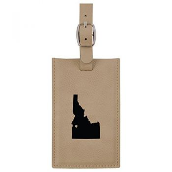 Idaho-State Outline-Heart-Leatherette Luggage Tag -Tan
