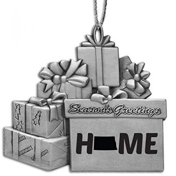 North Dakota-State Outline-Home-Pewter Gift Package Ornament-Silver