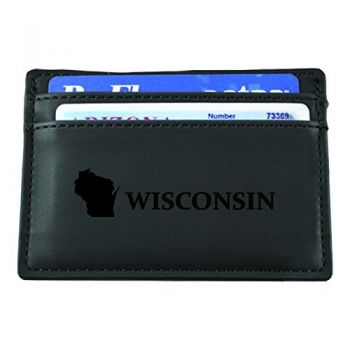 Wisconsin-State Outline-European Money Clip Wallet-Black