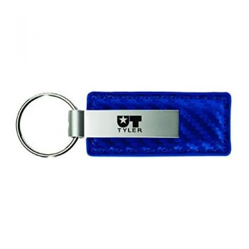 University of Texas at Tyler-Carbon Fiber Leather and Metal Key Tag-Blue