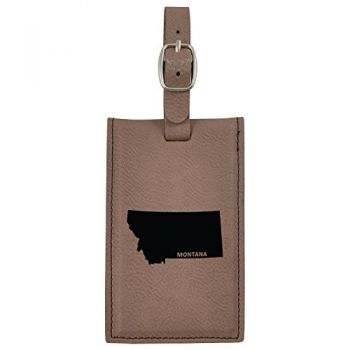 Montana-State Outline-Leatherette Luggage Tag -Brown
