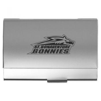 St. Bonaventure University - Two-Tone Business Card Holder - Silver