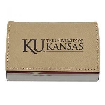 Velour Business Cardholder-The University of Kansas-Tan