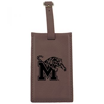 University of Memphis-Leatherette Luggage Tag-Brown