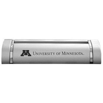 University of Minnesota-Desk Business Card Holder -Silver