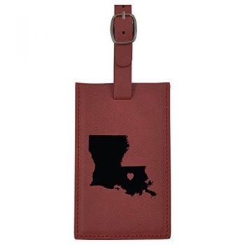 Louisiana-State Outline-Heart-Leatherette Luggage Tag -Burgundy