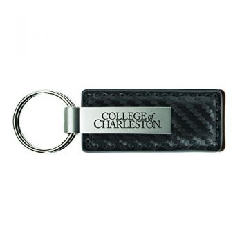 College of Charleston-Carbon Fiber Leather and Metal Key Tag-Grey