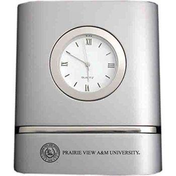 Prairie View A&M University- Two-Toned Desk Clock -Silver