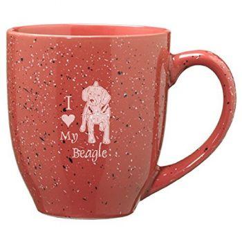16 oz Ceramic Coffee Mug with Handle  - I Love My Beagle