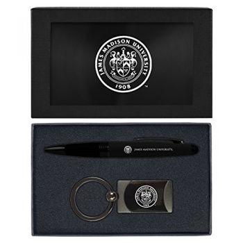 James Madison University-Executive Twist Action Ballpoint Pen Stylus and Gunmetal Key Tag Gift Set-Black