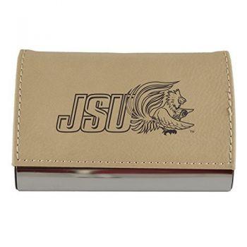 Velour Business Cardholder-Jacksonville State University-Tan