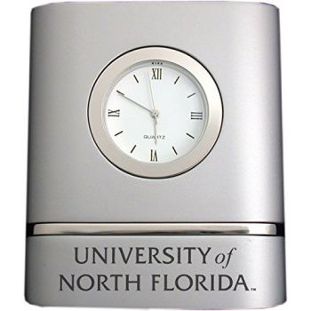 University of North Florida- Two-Toned Desk Clock -Silver