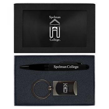Spelman College -Executive Twist Action Ballpoint Pen Stylus and Gunmetal Key Tag Gift Set-Black