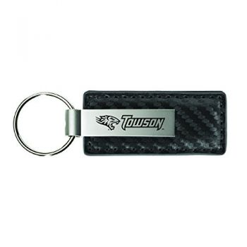 Towson University-Carbon Fiber Leather and Metal Key Tag-Grey