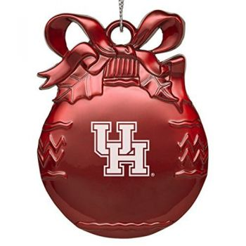 University of Houston - Pewter Christmas Tree Ornament - Red
