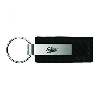 Indiana University-Carbon Fiber Leather and Metal Key Tag-Black