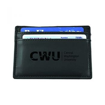 Central Washington University-European Money Clip Wallet-Black
