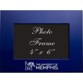 University of Memphis - 4x6 Brushed Metal Picture Frame - Blue