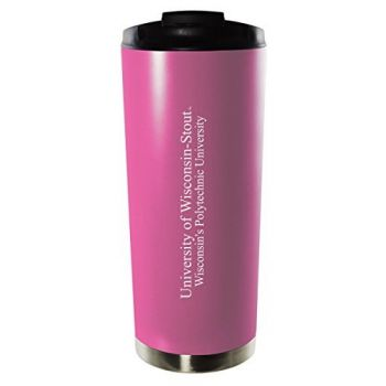 University of Wisconsin–Stout-16oz. Stainless Steel Vacuum Insulated Travel Mug Tumbler-Pink