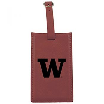 University of Washington-Leatherette Luggage Tag-Burgundy