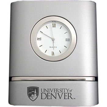 University of Denver- Two-Toned Desk Clock -Silver